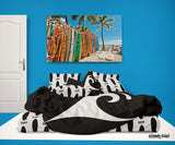 BLACK EPIC WAVE SURFER BEDDING COMFORTER WITH BLACK SURFBOARDS SHEET SET