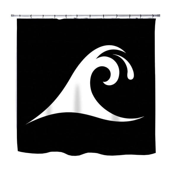 BLACK EPIC WAVE SURFER SHOWER CURTAIN