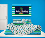 BLUE AND GREEN FLIP FLOPS COMFORTER WITH BEACH STRIPED SHEET SET FROM SURFER BEDDING