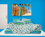 BLUE AND GREEN FLIP FLOPS COMFORTER WITH BEACH STRIPED SHEET SET FROM EXTREMELY STOKED