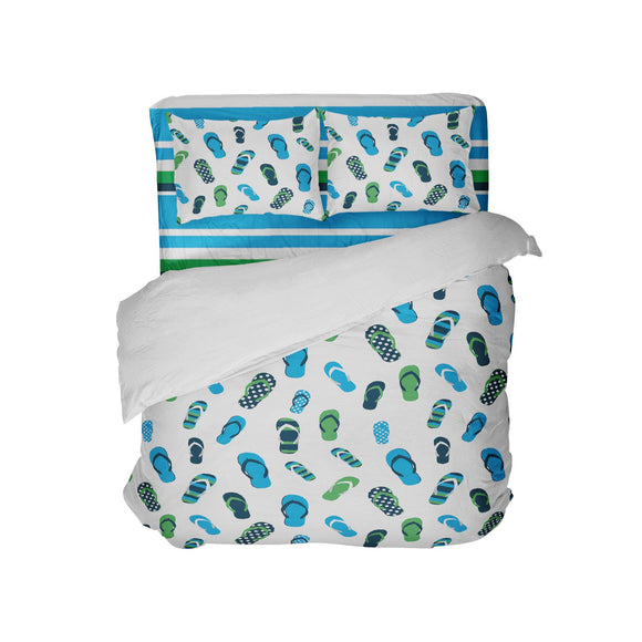BLUE AND GREEN FLIP FLOPS COMFORTER WITH BEACH STRIPED SHEET SET