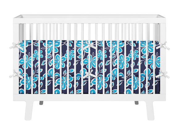 Ocean Blues Hibiscus Hawaiian Baby Bedding Set