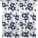 Blue and White Hibiscus Hawaiian Style Curtains from Surfer Bedding