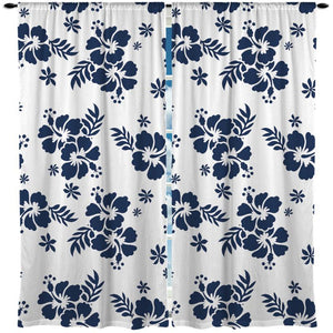 Blue and White Hibiscus Hawaiian Style Curtains