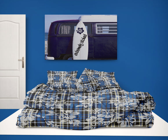 HIBISCUS ON BLUE PLAID PREPPY HAWAIIAN SURF STYLE COMFORTER SET FROM SURFER BEDDING AT EXTREMELY STOKED