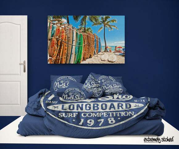 Surfer Bedding™ Blue Vintage Haleiwa Hawaii North Shore Eco Friendly Surf Comforter