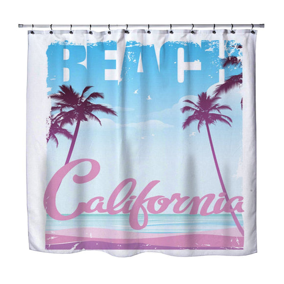 SURFER GIRL CALIFORNIA BEACH SHOWER CURTAIN