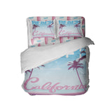 SURFER GIRL CALIFORNIA BEACH COMFORTER WITH PINK SURFBOARD SHEET SET