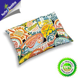 VINTAGE CALIFORNIA SURF STICKERS SURFER BEDDING PILLOWCASE