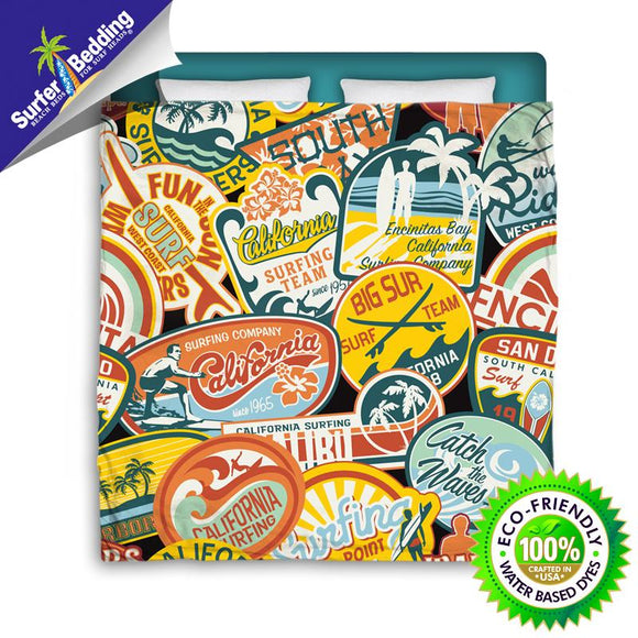 CALIFORNIA SURF STICKERS SURFER BEDDING COMFORTER