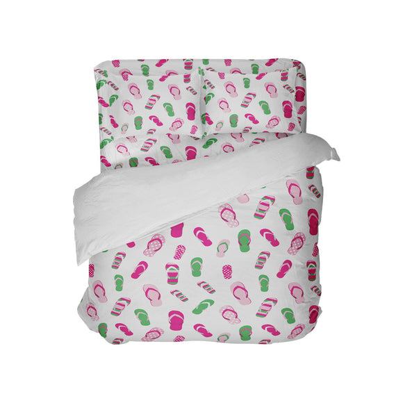 PREPPY PINK AND GREEN FLIP FLOPS COMFORTER SET FROM SURFER BEDDING