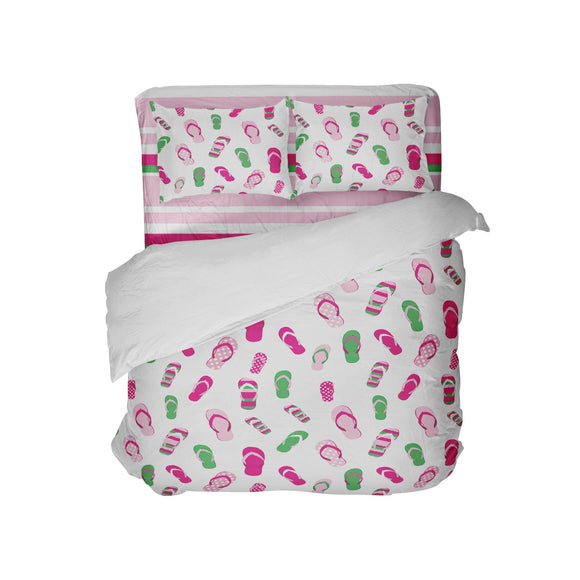 PREPPY PINK AND GREEN FLIP FLOPS COMFORTER WITH BEACH STRIPES SHEET SET FROM SURFER BEDDING