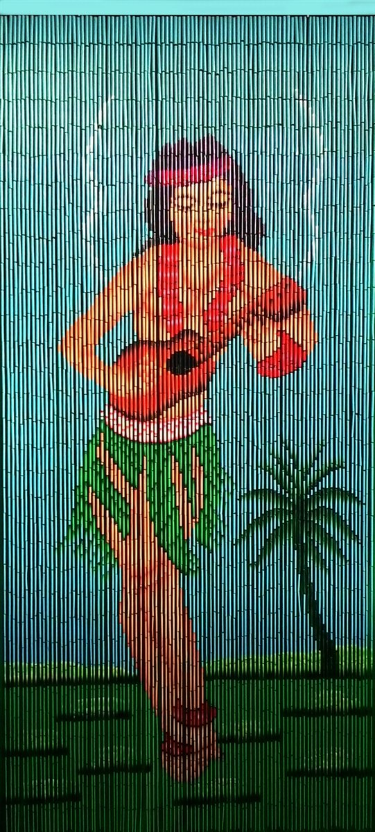 Aloha Hula Girl Playing Ukulele Bamboo Curtain