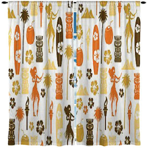 Hula Girls, Surfboards, Tikis Hawaiian Style Surf Curtains