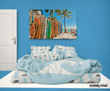 LIGHT BLUE EPIC WAVE COMFORTER SET WITH BLUE SURFBOARD SHEET SET FROM SURFER BEDDING EXTREMELY STOKED