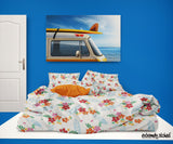 SURFER GIRL SURFBOARDS HAWAIIAN SURF BEDDING COMFORTER SET FROM EXTREMELY STOKED