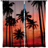 PALM TREES ON THE BEACH WINDOW CURTAINS