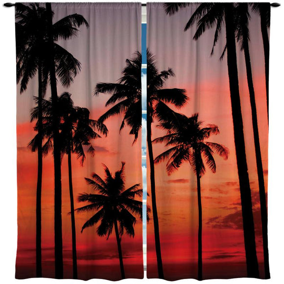Palm Trees at Sunset on the Beach Window Curtains