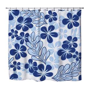 PERIWINKLE BLUE PLUMERIA HAWAIIAN STYLE SHOWER CURTAIN