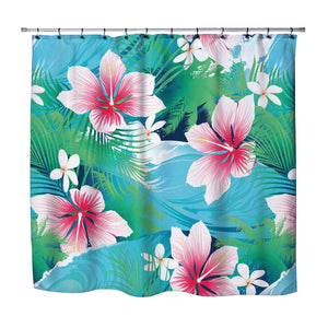 PINK HIBISCUS HAWAIIAN STYLE SHOWER CURTAIN