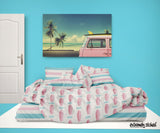 PINK SURFBOARDS BEDDING SET WITH PINK AND BLUE BEACH STRIPES SHEET SET FROM SURFER BEDDING