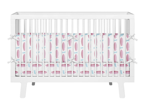 PINK SURFBOARDS SURFER BABY GIRL CRIB BEDDING SET