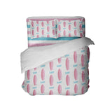 SURFER GIRL PINK SURFBOARDS COMFORTER WITH BEACH STRIPE SHEET SET