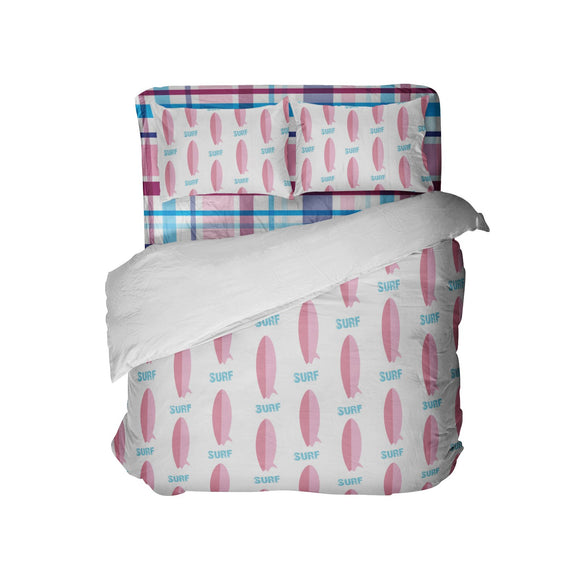 Preppy Surf Girl Pink Surfboards Comforter Set from Surfer Bedding™
