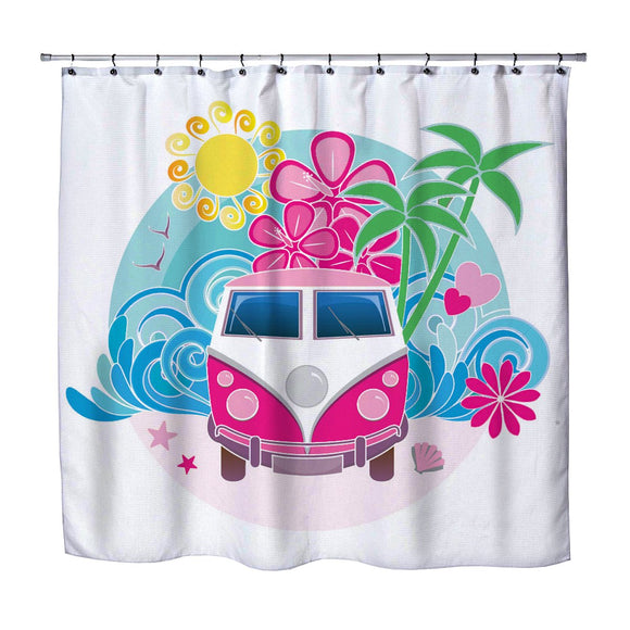 PINK VW INSPIRED BEACH BUS SHOWER CURTAIN