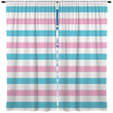 PINK AND BLUE BEACH STRIPE WINDOW CURTAINS