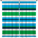 BLUE AND GREEN BEACH STRIPES WINDOW CURTAINS