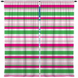 PREPPY PINK AND GREEN BEACH STRIPES WINDOW CURTAINS FROM SURFER BEDDING
