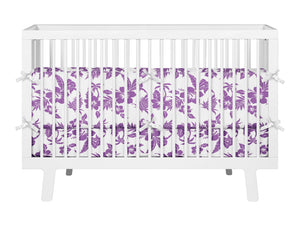 PURPLE HAWAIIAN BABY CRIB BEDDING SET