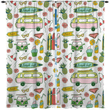 SIMPLE BEACH LIFE WITH PINK SURF BUS AND SURFBOARDS WINDOW CURTAINS FROM SURFER BEDDING