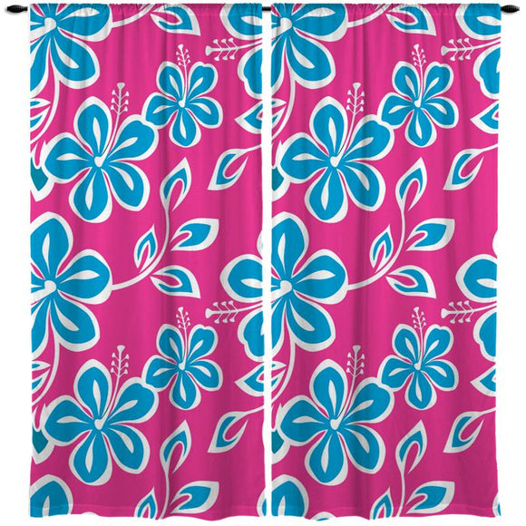 Pink and Blue Hibiscus Hawaiian Style Window Curtains