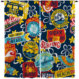 SURF RIDERS WINDOW CURTAINS FROM SURFER BEDDING