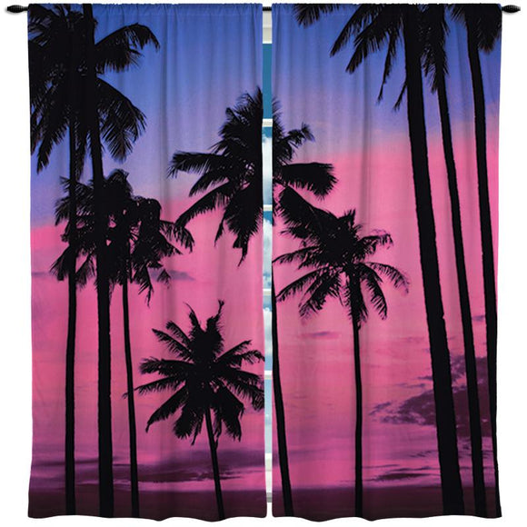 Surfer Girl Palm Trees Window Curtains from Surfer Bedding