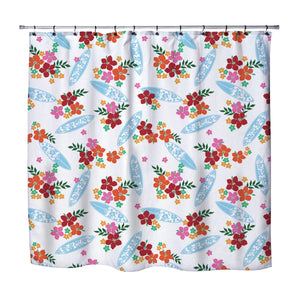 surfer girl hawaiian surfboards shower curtain from extremely stoked surfer bedding collection