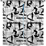 BLACK AND WHITE SURFING CURTAINS FROM SURFER BEDDING