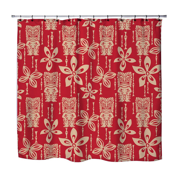 VINTAGE TIKI GODS HAWAIIAN STYLE SHOWER CURTAIN