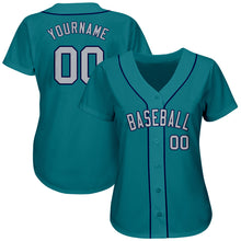 Load image into Gallery viewer, Custom Aqua Gray-Navy Authentic Baseball Jersey