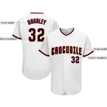 Load image into Gallery viewer, Custom White Black-Crimson Baseball Jersey