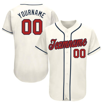 Custom Cream Red-Navy Baseball Jersey