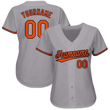 Load image into Gallery viewer, Custom Gray Orange-Black Baseball Jersey