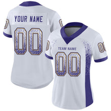 Load image into Gallery viewer, Custom White Purple-Old Gold Mesh Drift Fashion Football Jersey