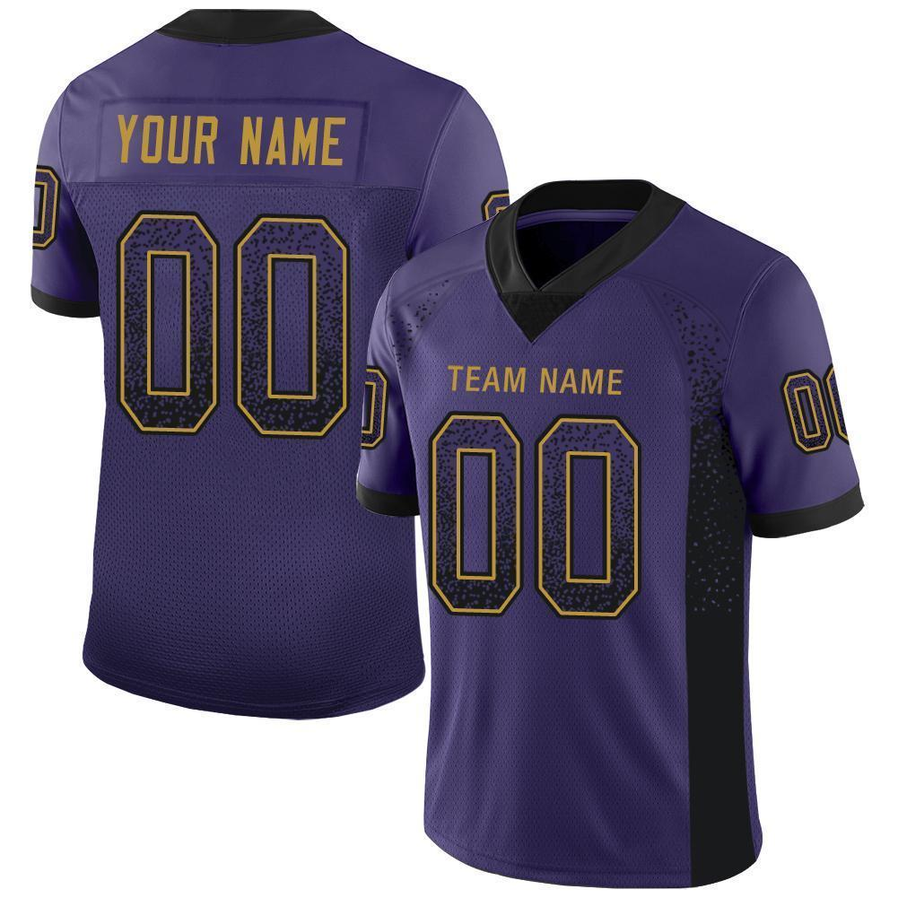 Custom Purple Black-Old Gold Mesh Drift Fashion Football Jersey