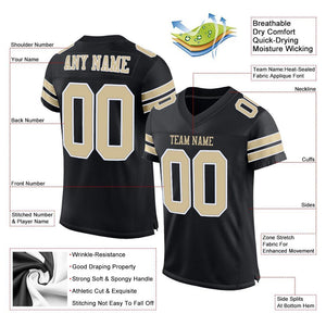 Custom Black Vegas Gold-White Mesh Authentic Football Jersey