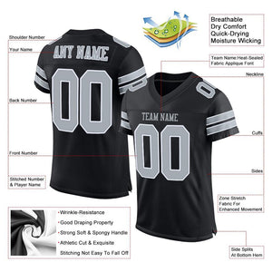 Custom Black Silver-White Mesh Authentic Football Jersey