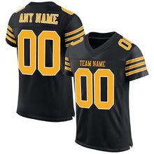 Load image into Gallery viewer, Custom Black Gold-White Mesh Authentic Football Jersey