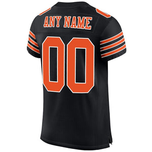 Custom Black Orange-White Mesh Authentic Football Jersey
